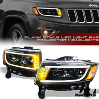 For 2014-2016 Jeep Grand Cherokee Matte Blk DRL LED Tube Bar Projector Headlight