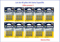 Lot de 40 Piles Varta zinc carbone Superlife AA LR06 prix cassé !!
