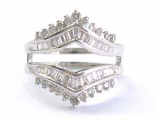 Fine Round & Baguette Diamond White Gold Jacket Ring 14KT 1.50Ct