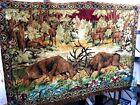 """Vintage Elk Deer Velvet Tapestry Rug Wall Hanging Landscape LARGE 73"""" X 48.5"""""""