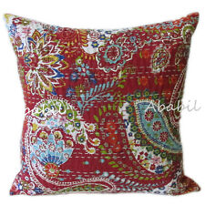 "New Indian Red Pillow Cushion Cover Bohemian Kantha Work 16X16"" Case Urban Throw"