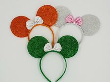 3 x Minnie mouse ears hairband fancy dress party ST. PATRICK'S 3 glitter colours