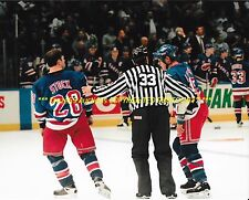 PJ STOCK & DARREN LANGDON Escorted OFF ICE After BRAWL w/NYI 8x10 FIGHT Rangers