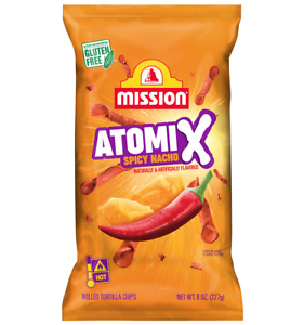 Mission Atomix SPICY NACHO Rolled Authentic Mexican Tortilla Chips 8 Oz 2 Pack