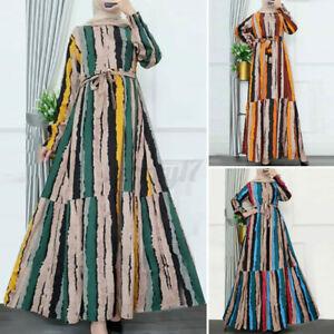 ZANZEA Women Muslim Long Sleeve Stripe Printed Lace Up Ruffles Kaftan Maxi Dress