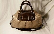 Coach F15440 Ashley Khaki Signature Convertible Brown Satchel Shoulder Bag Purse