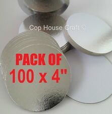 "100 x 4"" ROUND SILVER THIN CUT EDGE  BOARDS cake cupcake cards sugarcraft"