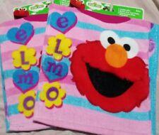 💦2 Sesame Street Elmo Toddler Baby Girls 2 Pack's Cotton Cloth Bibs 6m+ 4 total