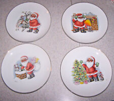 "Set of 4 Vintage CHRISTMAS / SANTA PLATES - 7 5/8"" Diam. - Made in Japan - EUC"