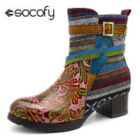 SOCOFY Women Bohemia Cow Leather Zipper Splicing Warm Lining Ankle Boots