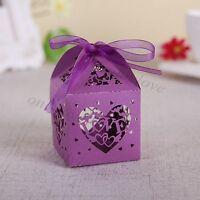 10/50/100Pcs Love Heart Favor Ribbon Gift Box Candy Boxes Wedding Party Decor