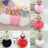 Fox Keyring KeyChain Pearl Rhinestone Ball PomPom Key Ring Chain Bag Pend SE