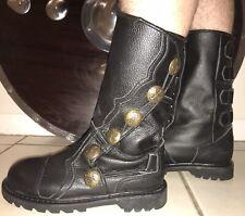 Medieval Renaissance Reenactment Leather Black Boots Mens 8.5 Womens 10 Mid-Calf