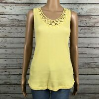 Hillard & Hanson Crochet Lace Floral Trim V-neck Rib Tank Top Shirt LARGE Yellow