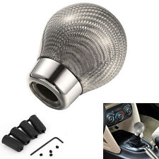 Autos Real Carbon Fiber Ball Manual Automatic Gear Shift Knob Stick Head Silver