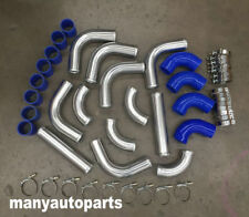 "2.5"" Aluminum Universal Intercooler Turbo Piping + blue hose+ T-Clamp kits NEW"