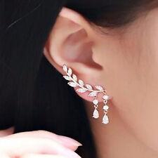 9ct Gold Pltd Clear Crystal Leaf Ear Cuff Climber Crawler Stud Earrings UK 240