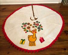 Vintage Felt and Sequin Tree Skirt Christmas Reindeer White Red Pom Pom Handmade