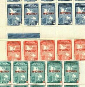 Ecuador COLOUR TRIAL 1946 AIR MAIL Stamps SPECIMEN 3s-10s Blocks UM MNH{30} MB28