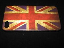 UK Cover Case for iPhone 4 4s British Flag Vintage Look on Black Case
