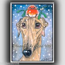 GREYHOUND DOG CHRISTMAS ROBIN ACEO PAINTING PRINT FROM ORIGINAL SUZANNE LE GOOD