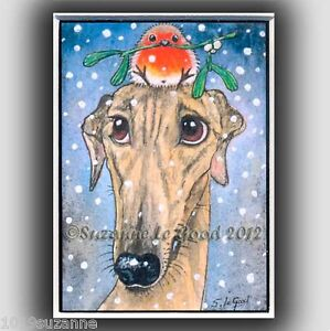 Greyhound dog art print Robin Christmas from original painting Suzanne Le Good