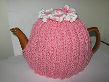 DEEP ROSE PINK HAND KNITTED TEA COSY WITH CROCHET ROSETTE- 6-8 CUP-BRAND NEW