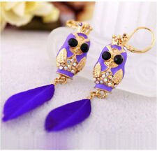 E403 Betsey Johnson King of Night Guardian Owl Owlet Purple Feathers Earrings US