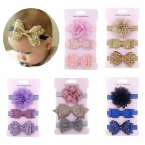 3Pcs Newborn Baby Girl Headband Infant Toddler Bow Hair Band Girls Accessories