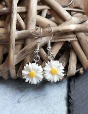 Cute Little White Daisy Chain Cabochon Flower Drop Earrings Kitsch UK