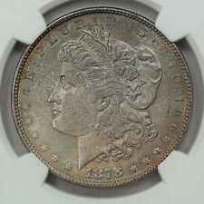 1878 Morgan Dollar, 7 TF Tailfeather, Reverse 1878, NGC MS63, Rainbow Toner!