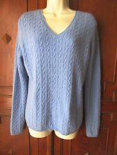 KIRKLAND SIGNATURE 100% Cashmere Sky Blue Cable Knit V Neck Sweater L EUC