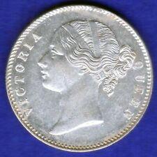 BRITISH INDIA-1840-DIVIDED LEGEND-ONE RUPEE-VICTORIA- NEAR UNC SILVER COIN-2