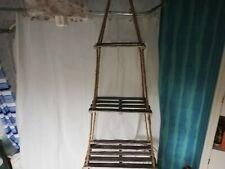 Rustic rope & wood shelves 3 tier floating shelves
