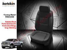 2019-2020 Silverado Crew Cab WT KATZKIN Leather Seat Covers Black w/Out Rear Arm