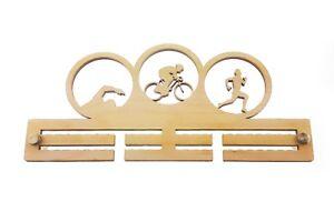 Mens, Triathlon, Triathlete - Wooden, Medal Holder, Hanger, Display