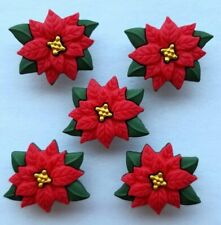 BG RED POINSETTIAS Christmas Flowers Plant Leaves Novelty Craft Buttons Galore