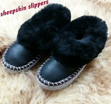 Ladies Warm Slippers REAL SHEEPSKIN Women's Hand Made Winter Wool US Size 6 -10