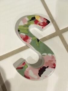 S Steven Stephen Ceramic Porcelain Monogram Hand Painted Name Letter with Hanger