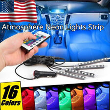 4X Led Under Car Tube Glow Underglow Underbody System Neon Strip Lights Kit Us