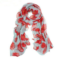 HOT Red Poppy Print Long Scarf Flower Beach Wrap Ladies Stole Shawl Sale