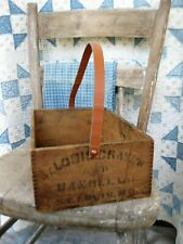 Antique Wood Fingerjointed St. Louis Crayon Box w Handle