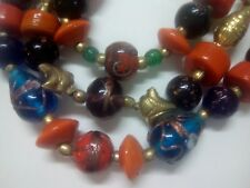 Bulky statement necklace. Wild colorful glass painted beads, + 3 more necklaces