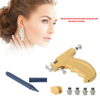 Stainless Steel Ear Nose Navel Body Piercing Gun With 98x Studs Tool Kit Gold B4