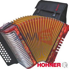 Hohner Corona III 31 Button BbEbAb Diatonic Red Accordion with Gig Bag, Straps