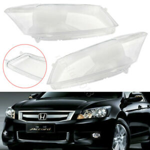 Pair Front Car Clear Headlight Housing Cover Lens Lamp For Honda Accord 2008-12