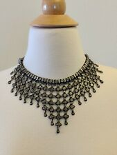 Vtg Rajasthan India Collectible Signed Silver Bib Collar Choker Tribal Necklace