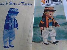 """T7 PATRON POUPEE JEAN MICHEL """" MODES ET TRAVAUX COSTUME DE BRETON  1972"""