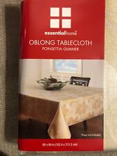 Essential Home Tablecloth Ivory Gold Christmas Poinsettia Glimmer oblong 60x84