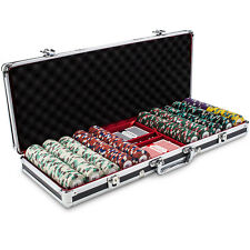 New 500 Poker Knights 13.5g Clay Poker Chips Set Black Aluminum Case Pick Chips!
